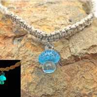 Glow Mushroom Aqua Blue Hemp Spiral Necklace with Fimo Mushroom Top 18 Inch Necklace