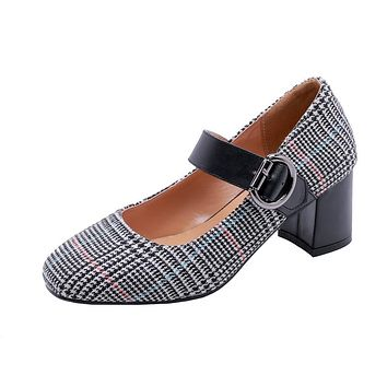 Ladies's Plaid Mary Janes Chunky Heel Chunky Pumps