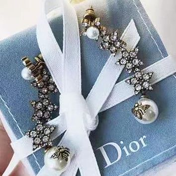 Dior New fashion pearl bee diamond  long earring accessory women