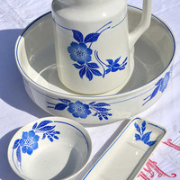 Vintage French Pitcher and Bowl Bathroom Set   Blue Floral French Ironstone Wash Basin and Jug   Rustic French Jug and Bowl Bath Set