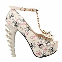 Skull Print Studs Chain Peep Toe Bone Heel Pumps