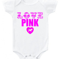 LOVE PINK with Victoria's Secret Pink dog in heart short or long sleeve baby bodysuit one piece or organic cotton toddler shirt choose color