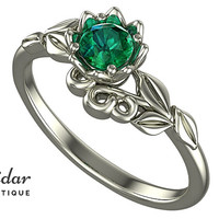 Flower Engagement Ring,Unique Engagement Ring,Solitaire Engagement Ring,Leaves,Green Emerald,Lotus,Floral,Swirl,White Gold Ring