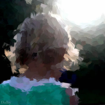 Abstract Photograph of child and summer sunset.
