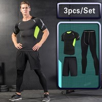 3 Pcs Outdoor Jogging Sport Suits Men Gym Sportswear Running Track Suits Fitness Body Building Sport Outwear Clothing Suit Male