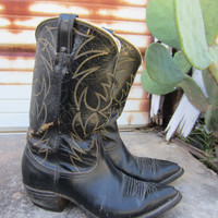 50s/60s Nocona Cowboy Boots in Black Leather, US 12 EUR 45 UK 11.5  // Western Topstitched Boots