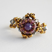 Gold and bronze seed beaded amethyst stretch ring intricate beadwork
