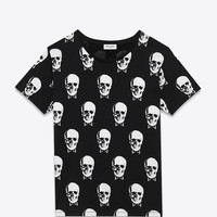 Saint Laurent Short Sleeve T Shirt In Black And White Skull Printed Cotton Jersey - ysl.com
