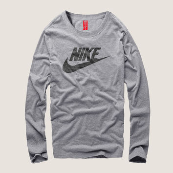"""""""Nike"""" Men Simple Casual Letter Print Round Neck Long Sleeve Cotton T-shirt"""