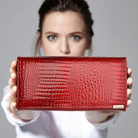 Free Gift Women Genuine Leather Wallet Women's Fashion Alligator Pattern Long Standard Wallets Hasp And More Card Holds QY0813
