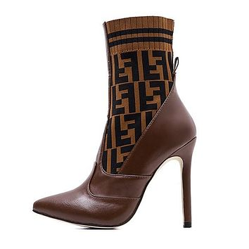 "Hot Sale ""FENDI"" Autumn Winter Popular Woman Knit Socks Boots Pointed High-Heeled Shoes Coffee"