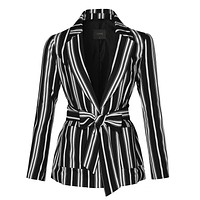 Striped Open Front Long Sleeve Blazer (CLEARANCE)