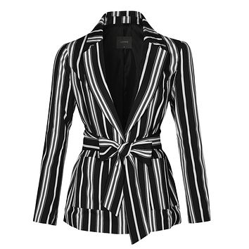 Casual Striped Open Front Long Sleeve Blazer Jacket With Self Waist Tie (CLEARANCE)