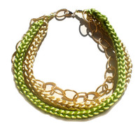 Knitted Necklace Knit Necklace Green Necklace Yellow Necklace Statement Necklace Chunky Necklace Knitted Necklace FREE SHIPPING WORLDWIDE