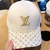LV Fashion New Embroidery Letter Monogram Women Men Cap Hat White