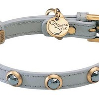 'Pebbies' Faceted Hematite Dog Collar On Gray