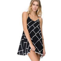Square Line Printed Criss Cross Back Spaghetti Strap Mini Dress