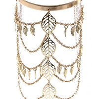 LEAF CUTOUT DRAPED CHAIN BOHO ARM CUFF