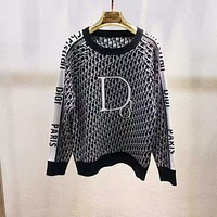 DIOR Women Jacquard wool blended knitted sweater