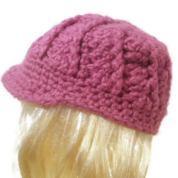 chunky crochet newsboy cap, swirly newsboy hat, you pick the color