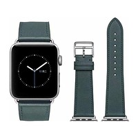 Midnight Green Genuine Leather Band for Apple Watch