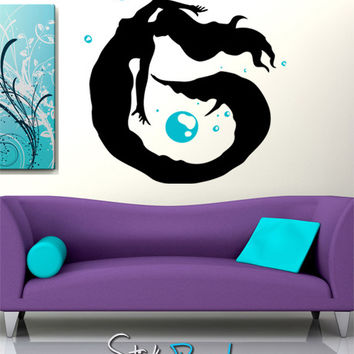 Vinyl Wall Decal Mermaid Swimming Bubbles #GFoster109