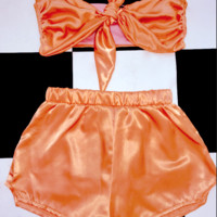 SWEET LORD O'MIGHTY! BABYGIRL SILK SET IN TANGERINE