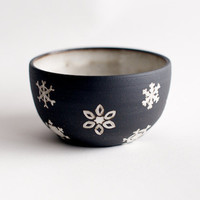 Snowflakes Ceramic Bowl- Limited Edition- Black Stoneware by RossLab
