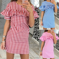 Plaid Flounced Chest Short Sleeve Mini Dress