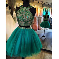Two Piece Homecoming Dresses Sparkly Beaded Short Formal Graduation Wear Dress Pleats 8th Grade Sweet 15 Short Party Gown