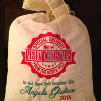 Personalized Santa Sack Embroidered Special Delivery From North Pole Santa Bag Gift Bag