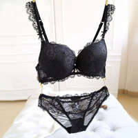Sexy Women Lace Push Up Deep V Bra and Panty Set Underwire Bras Underwear Lingerie Outfits SM6
