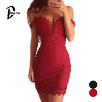 Daylook Summer Dress V-neck 2016 Women Fashion Off Shoulder Lace Bodycon Party Dress 2 Colors Plus Size S-XL Vestidos Femininas