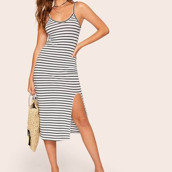 Striped Split Hem Cami Dress