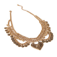 Etched Coin Statement Necklace