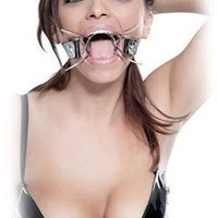 Akstore Stainless Steel Fetish Metal Spider Gag with Leather Strap for Serious Bondage Fun Bondage Fetish Spider O-ring Mouth Gag Adjustable Leather Designed Great for Love Game for Men and Women