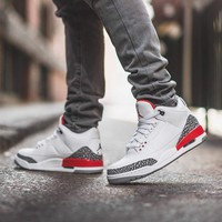 "Air Jordan 3 Retro ""Katrina"" White/Cement Grey/Black-Fire Red AJ3 Sports Shoes Sneakers - Best Deal Online"