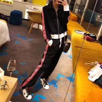 Miu Miu Women Casual Multicolor Stripe Letter Webbing Long Sleeve Zip Cardigan Coat Trousers Set Two-Piece Sportswear