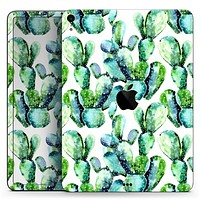 """Watercolor Cactus Bloom V1 - Full Body Skin Decal for the Apple iPad Pro 12.9"""", 11"""", 10.5"""", 9.7"""", Air or Mini (All Models Available)"""