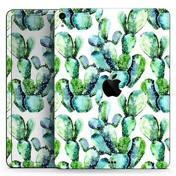 "Watercolor Cactus Bloom V1 - Full Body Skin Decal for the Apple iPad Pro 12.9"", 11"", 10.5"", 9.7"", Air or Mini (All Models Available)"