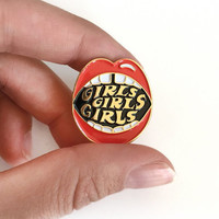 Lips pin, enamel lapel pin, girls pin, feminist, mouth, 70s inspired, enamel pin punk, vintage inspired graphic, clip on pin, gap teeth