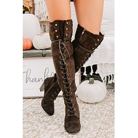 Just Enough Lace Up Knee High Boots (Brown)