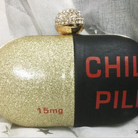 chill  pills modeling party clutch
