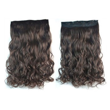 Thick Hair Extension Long Curled Hair 5 Cards Wig brown black