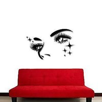 Wall Stickers Vinyl Decal Hot Sexy Face Eyes Lashes With Stars Unique Gift (z1774)