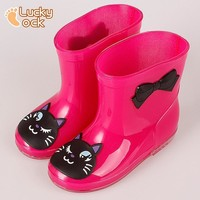 Girls Outdoors Shoes Spring Color with Frog Cat Rabbit Rain Boots