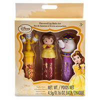Disney Store Beauty & the Beast Belle Lumiere Mrs Potts Lip Balm Set New w Box