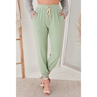 Deeply In Love Knit Joggers (Sage)