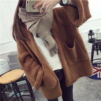 2016 Casual Women Korean Style Coats Loose Knitted Long Cardigans Big Pockets Khaki Poncho Batwing Sleeve Sexy Outwear Sweaters