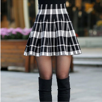 Spring Skirts Womens Fall Autumn New Design Fashion Girl Plus Size Zipper High Waist Short Mini Pleated Wool Plaid Skirt